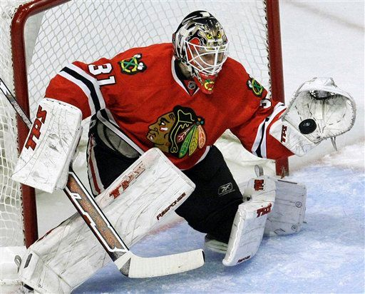 Antti Niemi will start in net for the Hawks.