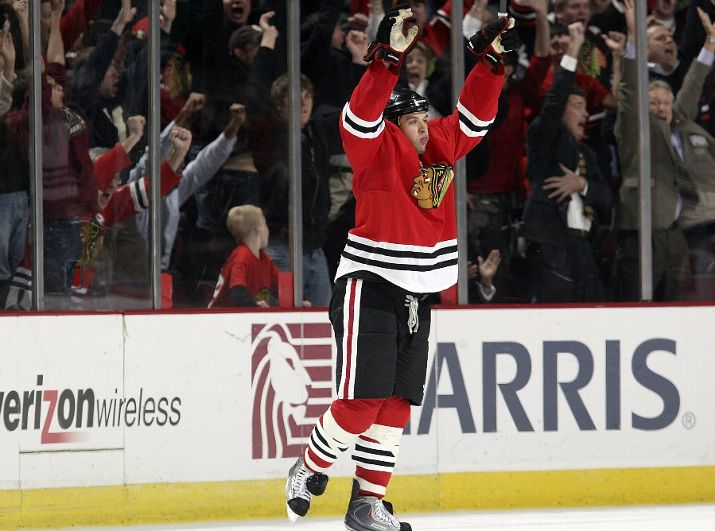 Brent Seabrook reacts to scoring the game-winning goal against Calgary on Monday night.