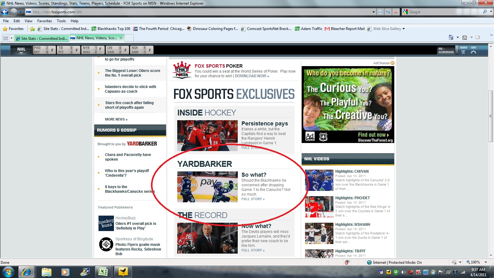 FoxSports NHL pg April 14, 2011