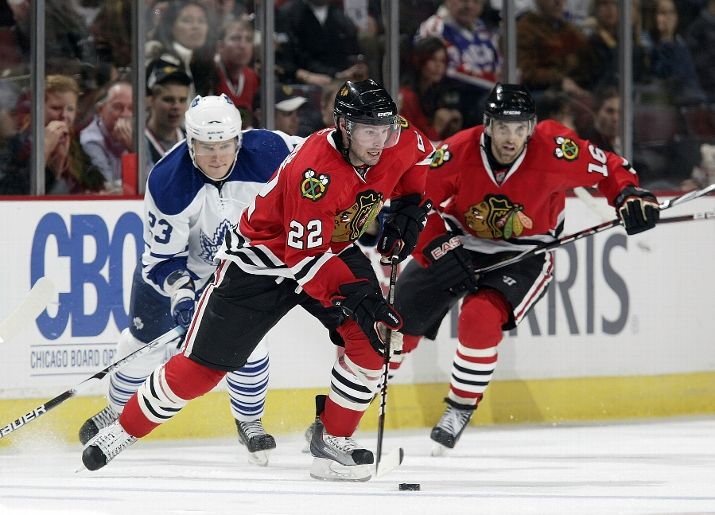 Troy Brouwer scored a power play goal in the Blackhawks 3-2 victory on Friday.