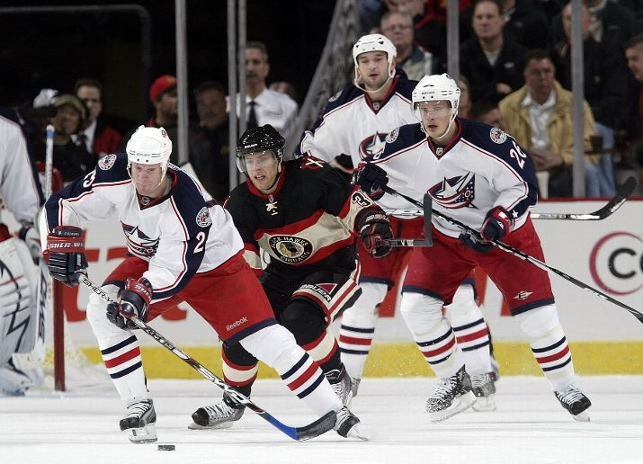 The Blackhawks won't have to worry about Jason Chimera, front left, again in Columbus.