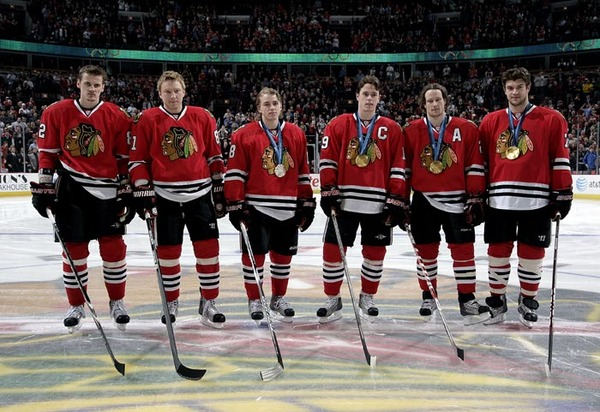 The Blackhawks honored their six Olympians before the game.