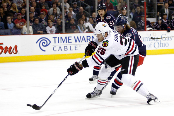 Viktor Stalberg scored his first goal with the Hawks Friday night.