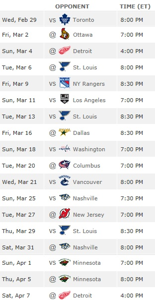 Blackhawks remaining schedule