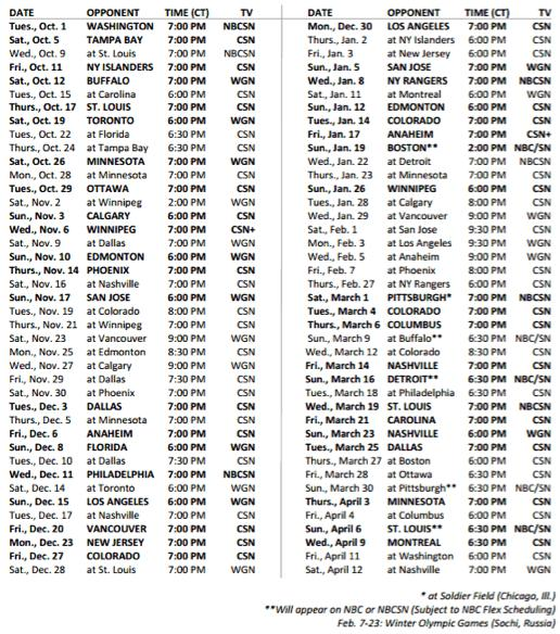 Blackhawks TV Schedule