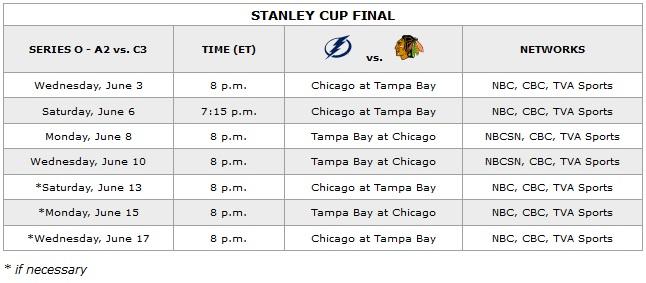 2015 Stanley Cup Final Schedule