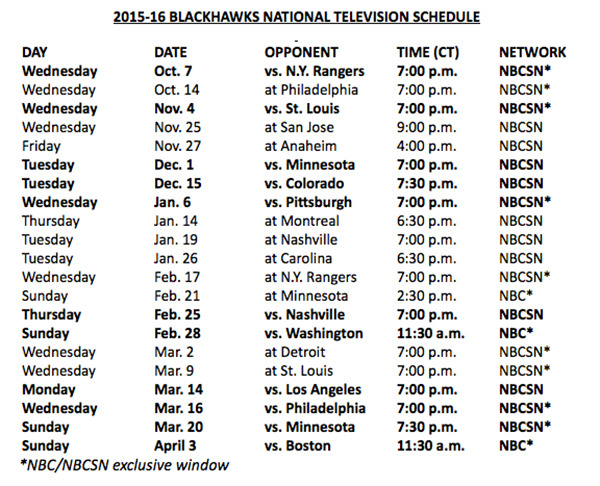 2015-16 Hawks TV schedule