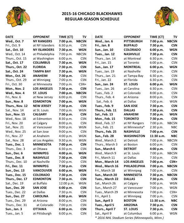 2015-16 TV Schedule