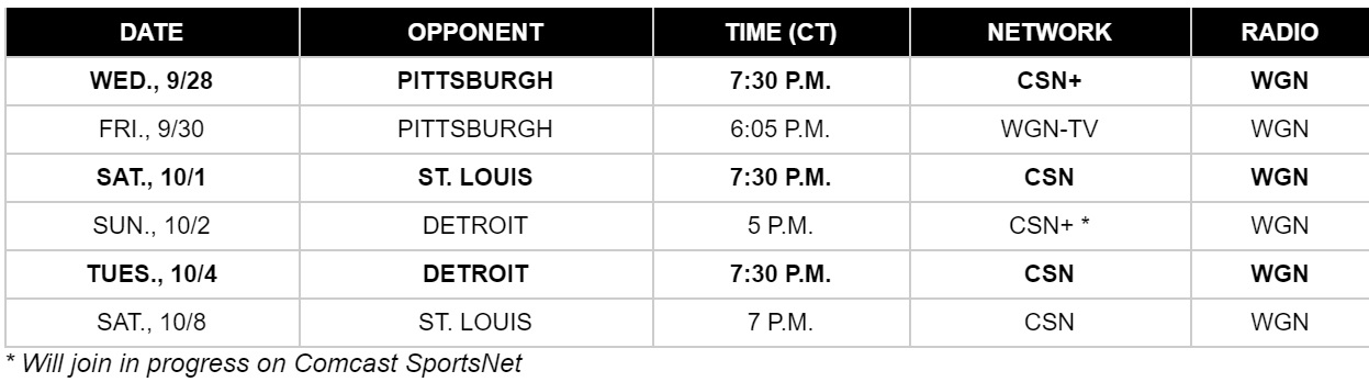 2016 Blackhawks preseason schedule