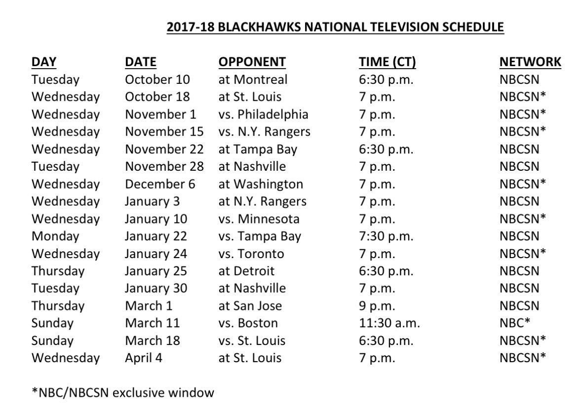 blackhawks lead national tv schedule (again) | committed indians